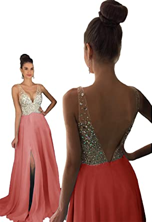 8a09a426 HEAR Women's V Neck Long Prom Dresses Backless Party Evening Dress Hear051  Watermelon 0