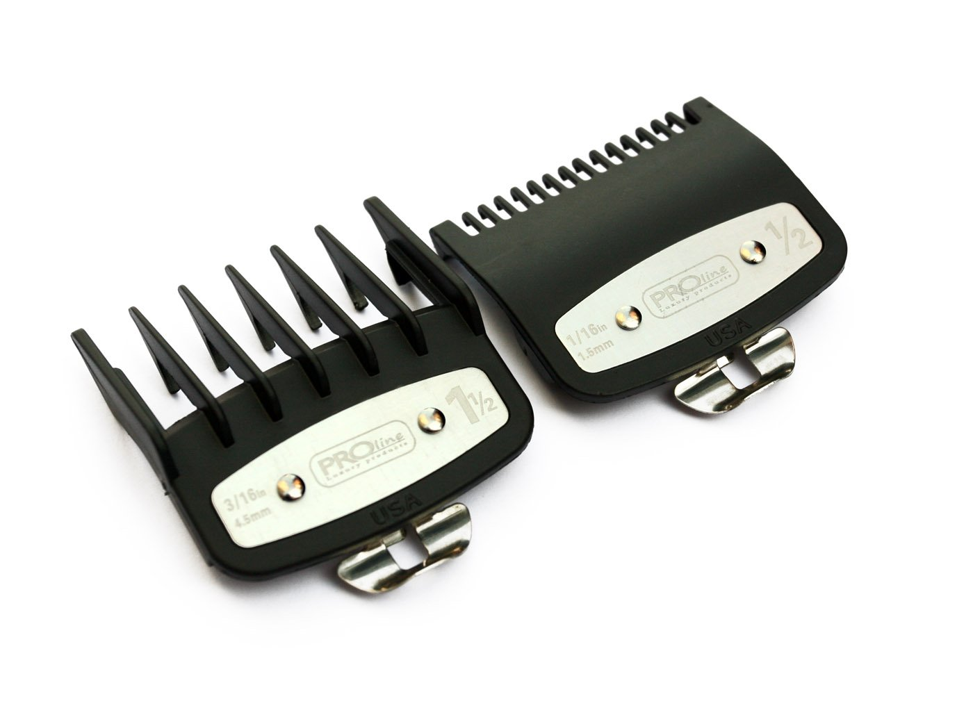 Professional Line Attachment Comb set With Metal Fitting Cutting Guide 1/2 1.5mm - 1 1/2 4.5mm Fit - Super Taper, Chromepro, Balding, Magic 5 Star and other standard full sized clippers