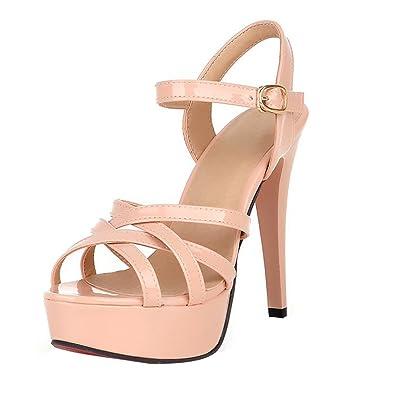 68fca50a3a04ed UH Damen Offene High Heels Riemchen Lack Sandalen Plateau Stiletto mit  Roter Sohle 12cm Absatz Schnalle