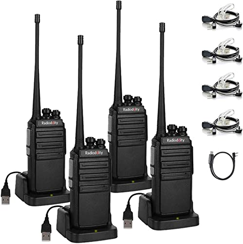 Radioddity GA-2S Long Range Walkie Talkies UHF Two Way Radio Rechargeable with Micro USB Charging Air Acoustic Earpiece 1 Free Programming Cable, 4 Pack