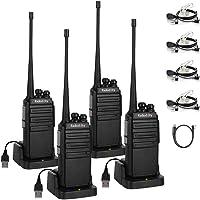 Radioddity GA-2S Talkie Walkie Professionnel Longue Portée Radio bidirectionnelle UHF Rechargeable avec Chargement Micro USB + écouteur Acoustique avec Micro (4 pcs+ 1 câble de Programmation)