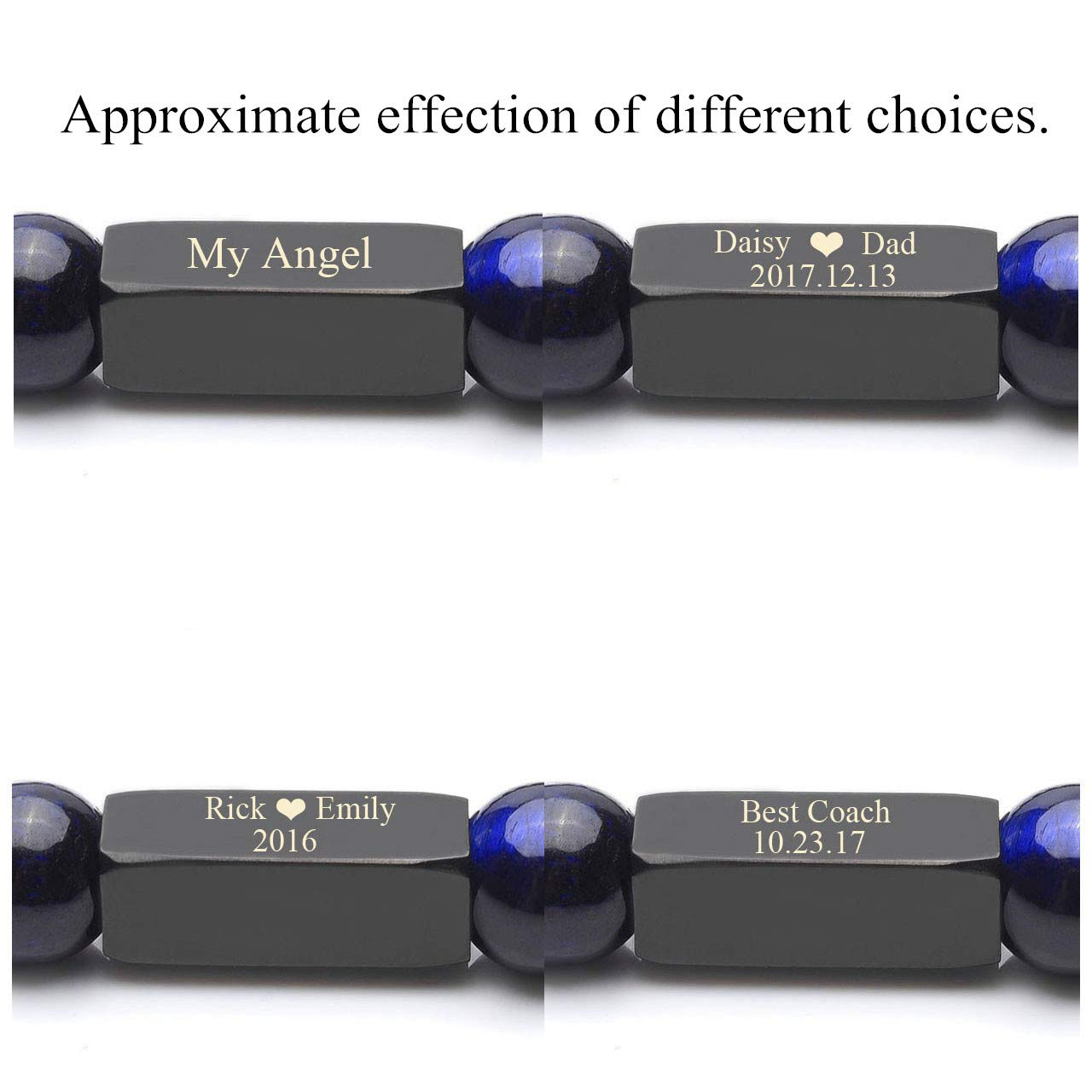 Personalized Master Free Engraving Custom Mens Womens Natural Gemstone Distance Bracelets Round Beads Healing Crystal Stretch Bracelet Set by Personalized Master (Image #2)