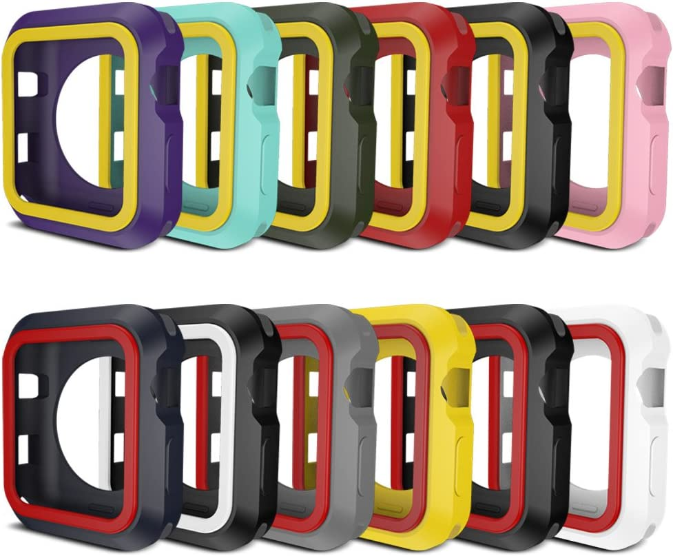 AWINNER Colorful Case for Apple Watch,Shock-Proof and Shatter-Resistant Protective iwatch Silicone Case for Apple Watch Series 3,Series 2,Series 1, Nike+,Sport,Edition (12-Colour, 42mm)