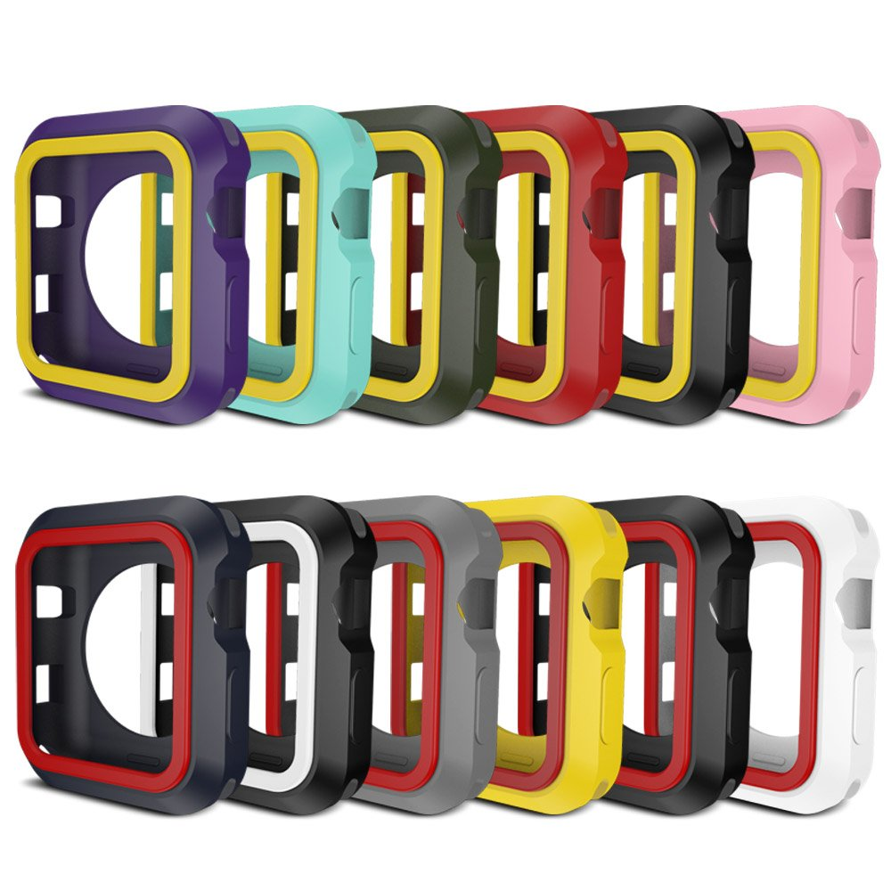AWINNER Colorful Case for Apple Watch,Shock-proof and Shatter-resistant Protective iwatch Silicone Case for Apple Watch Series 3,Series 2,Series 1, Nike+,Sport,Edition (12-Colour, 38mm)