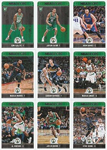 2017-18 Panini NBA Hoops Boston Celtics Team Set of 9 Cards: Kyrie Irving(#26), Al Horford(#34), Jaylen Brown(#35), Marcus Smart(#38), Gordon Hayward(#81), Marcus Morris(#172), Aron Baynes(#173), Jayson Tatum(#253), Semi (Celtic Card)