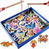 DAVEVY Wooden Fishing Game Educational Development Wooden Magnetic Bath Fishing Travel Table Game Fishing Game Puzzle Birthday Gift Toy for Kids Children Toddler(Multicolor)