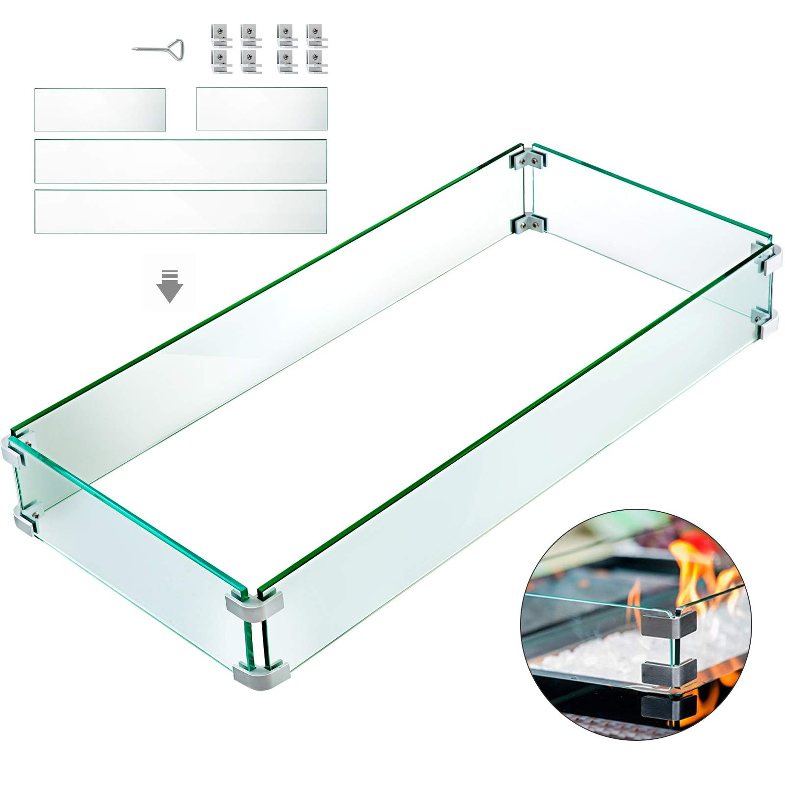 VBENLEM Fire Pit Wind Guard 41.8x18 Inch Fire Pit Tempered Glass 6mm Thickness Rectangular Wind Guard Fence by VBENLEM