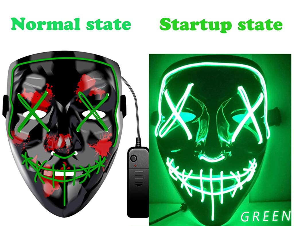 Halloween Mask LED Light up Mask Scary Frightening EL Wire Mask for Festival Parties Cosplay Costume for Man Women Kids