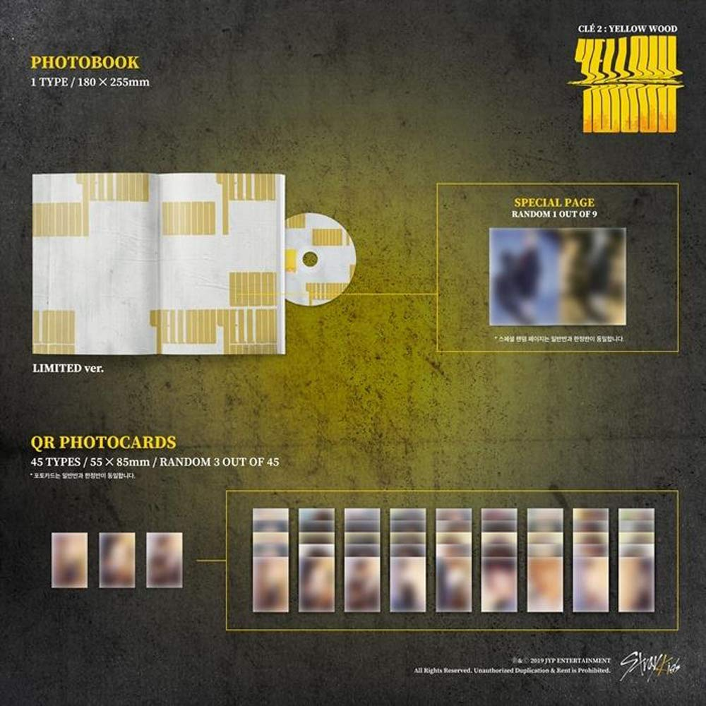 Stray Kids - Clé 2 : Yellow Wood [Limited ver.] (Special Album) CD+Photobook+3Photocards+Unit Photocards+Sticker+Pre-Order Benefit+Folded Poster+Double Side Extra Photocards Set by JYP (Image #3)