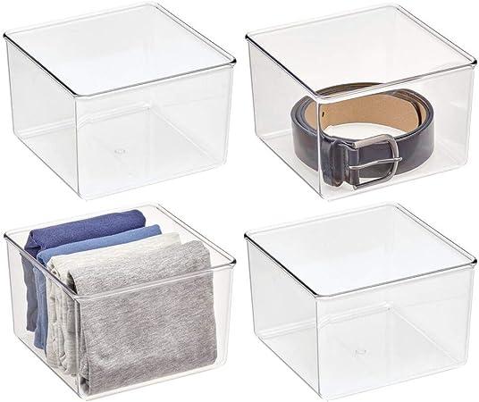 mDesign Juego de 4 cajas organizadoras – Práctico organizador de plástico sin BPA para armarios del dormitorio o baño – Fantástica caja para ropa o cosméticos – transparente: Amazon.es: Hogar