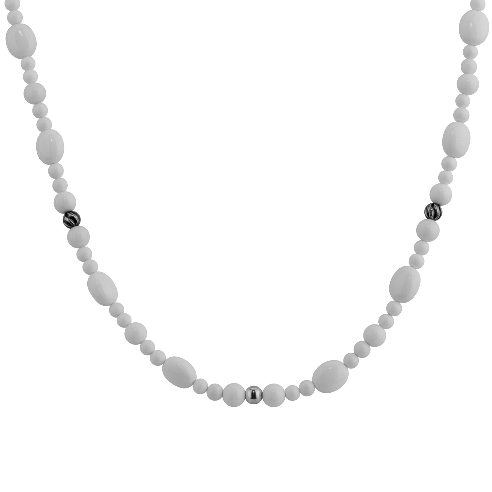 Carolyn Pollack Genuine .925 Sterling Silver White Agate Beaded Necklace