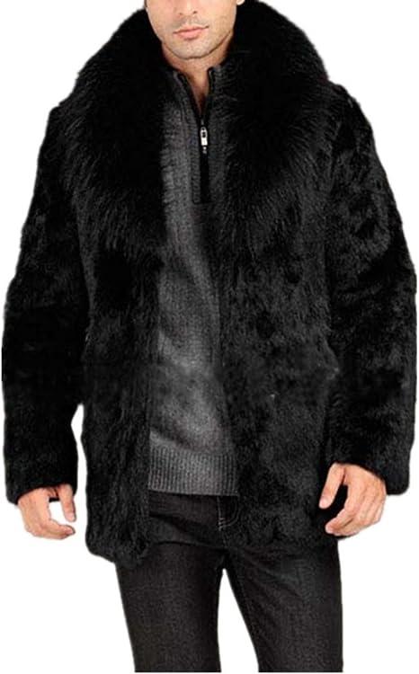 Mens Thicken Mixed Colors Faux Fur Lapel Parka Outwear Fashion Jacket Coat E735