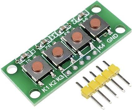 LICHONGUI 3 unids 1x4 4 Teclas Botón 5 Pin Teclado Teclado ...