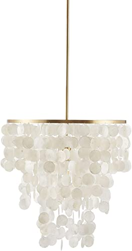 Urban Habitat MPS150-0093 Isla Modern Classic Chandeliers-Metal, White Shell Shade Pendant Ligthing Lamp Ceiling Dining Room Lighting Fixtures Hanging