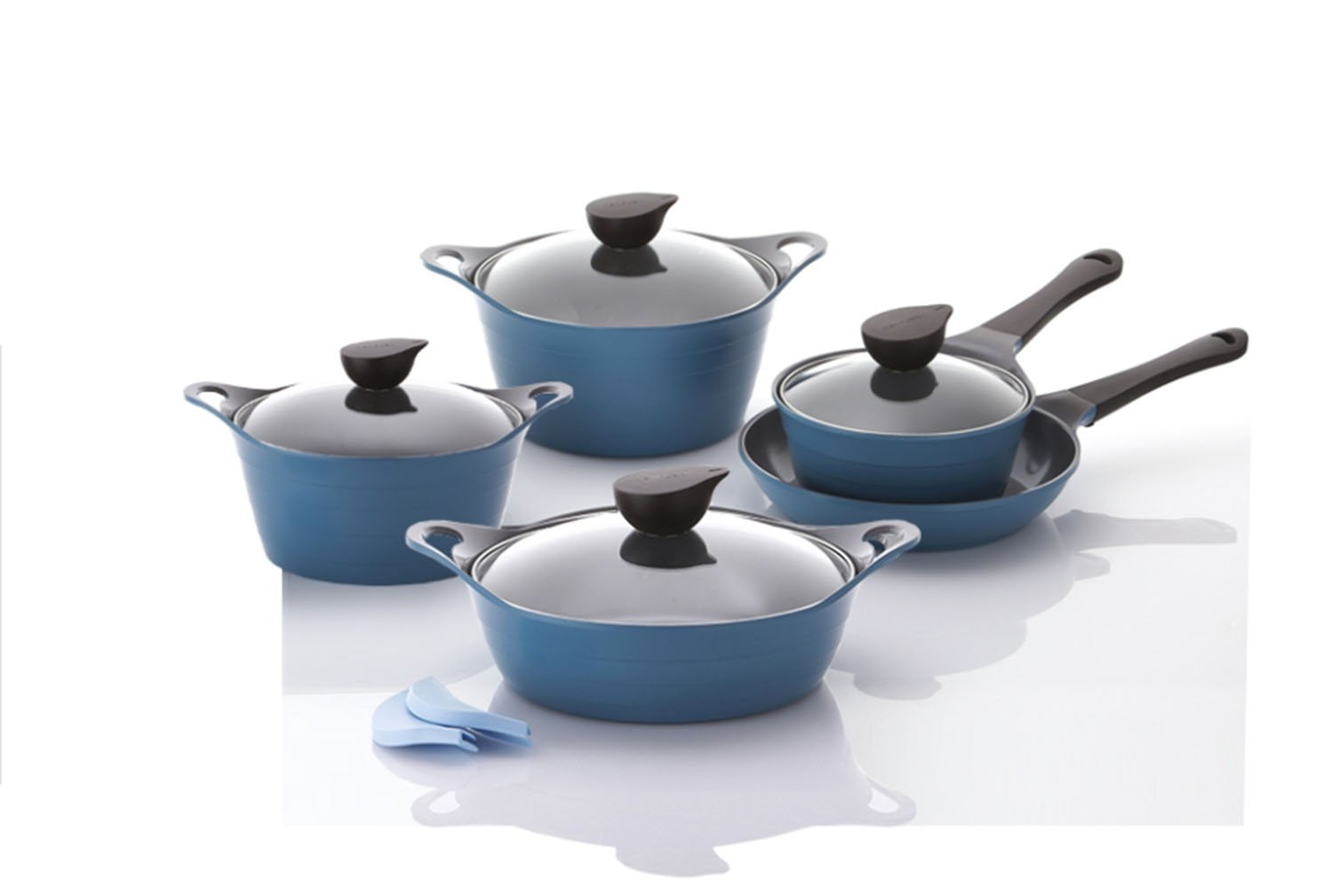 Neoflam Eela Induction Natural mineral Ceramic Ecolon Coating Cast iron ware Cookware Pot Frying Pan 9p Set Blue