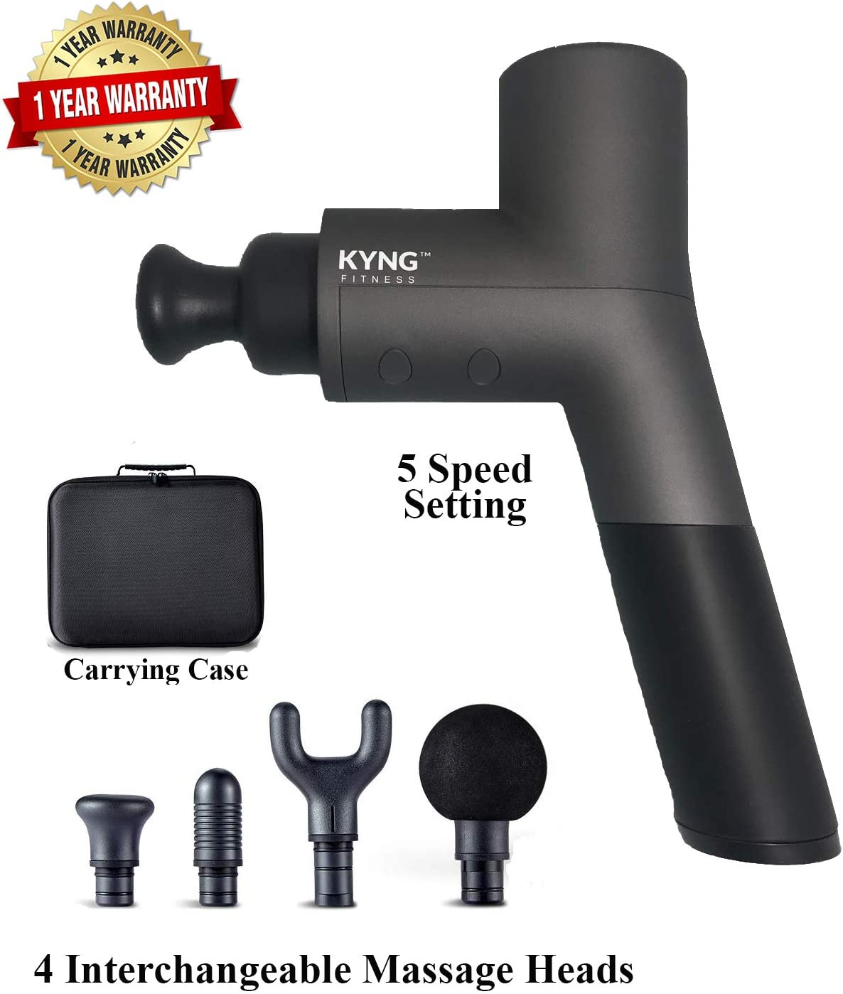 Kyng Fitness Massage Gun PRO PT 26V Quiet Handheld Deep Tissue Massager Rechargeable Handheld Massage Gun Percussive Vibration Therapy Massager Rechargeable Battery, Pain Relief, Recovery, Body Relief