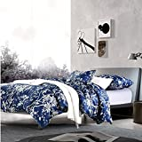 Eastern Floral Chinoiserie Blossom Print Duvet Quilt Cover Navy Blue Tan White Asian Style Botanical Tree Branches Ornamental Drawing 400TC Egyptian Cotton 3pc Bedding Set (Queen)