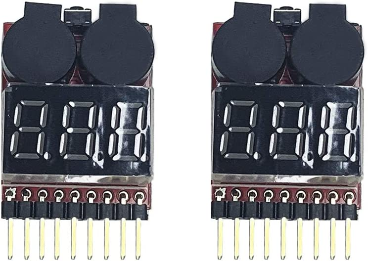 IFLYRC 2Pcs 1-8S Indicator RC Li-ion Lipo Battery Tester Low Voltage Buzzer Alarm