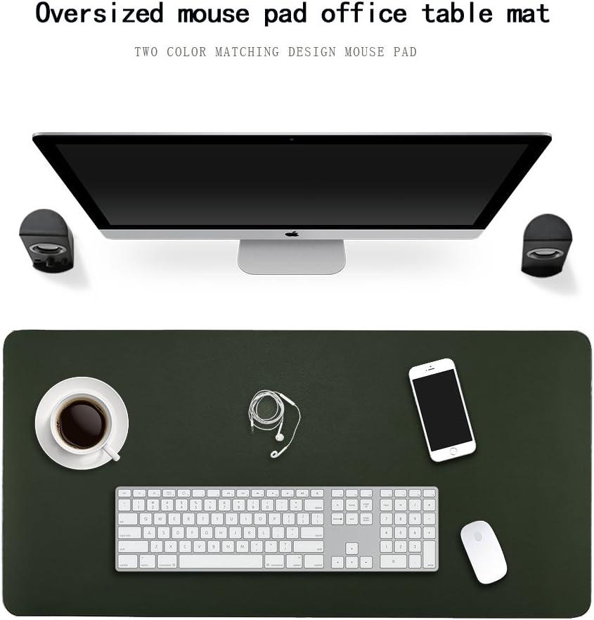 Sous-main protecteur pour le bureau et la maison Tapis de bureau imperm/éable en cuir synth/étique pour ordinateur et souris Rectangulaire L Green