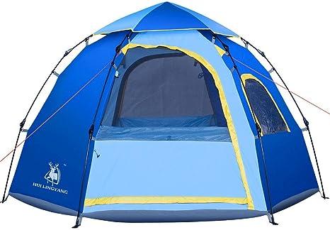QAR Nueva Tienda De Campaña Automática Al Aire Libre 5-6 Personas Hexágono De Ocio Yurt Camping Suministros Tiendas de campaña: Amazon.es: Deportes y aire libre