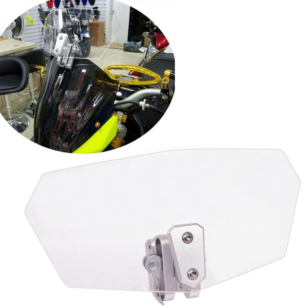 HOZAN Clear Lens Adjustable Motorcycle Extention Windshield for Honda Suzuki Triumph BMW R1200GS