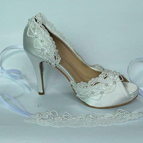 13571df757984 Amazon.com: Satin white ivory lace pearls open toe Wedding prom ...