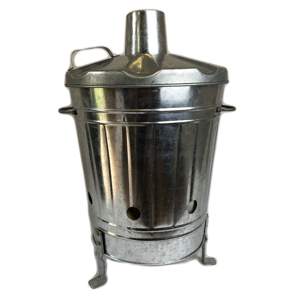 Easy Shopping 15 Litre 15L Mini Incinerator Small Heavy Duty Galvanised Metal Recycle Garden Rubbish Fire Burning Leaves Paper Fire Bin UK