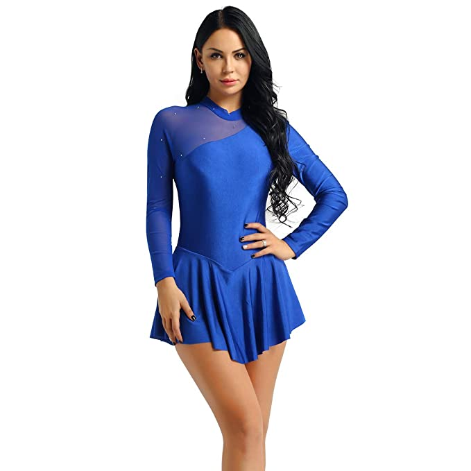 dPois Vestido de Patinaje Artístico Mujer Maillot de Patinaje ...