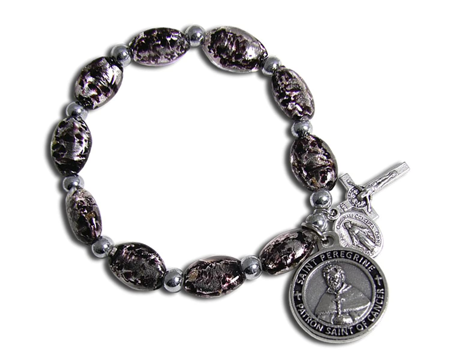 The Christian Mint, LLC St Peregrine Patron Saint of Cancer Black Murano Stretch Bracelet w/Capsule of St Peregrine Soil