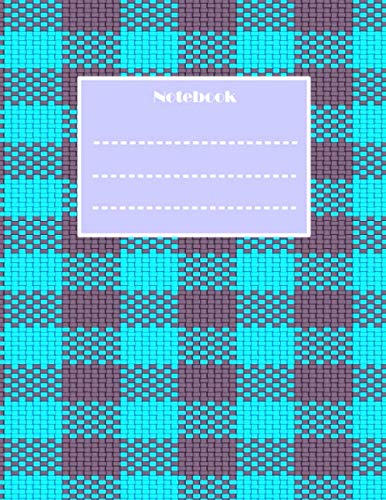 Notebook: Plaid Weave Stitch  8.5 X 11 College Ruled , Purple and Teal  Gingham Check pattern Composition Notebook for School , Creative Writing etc