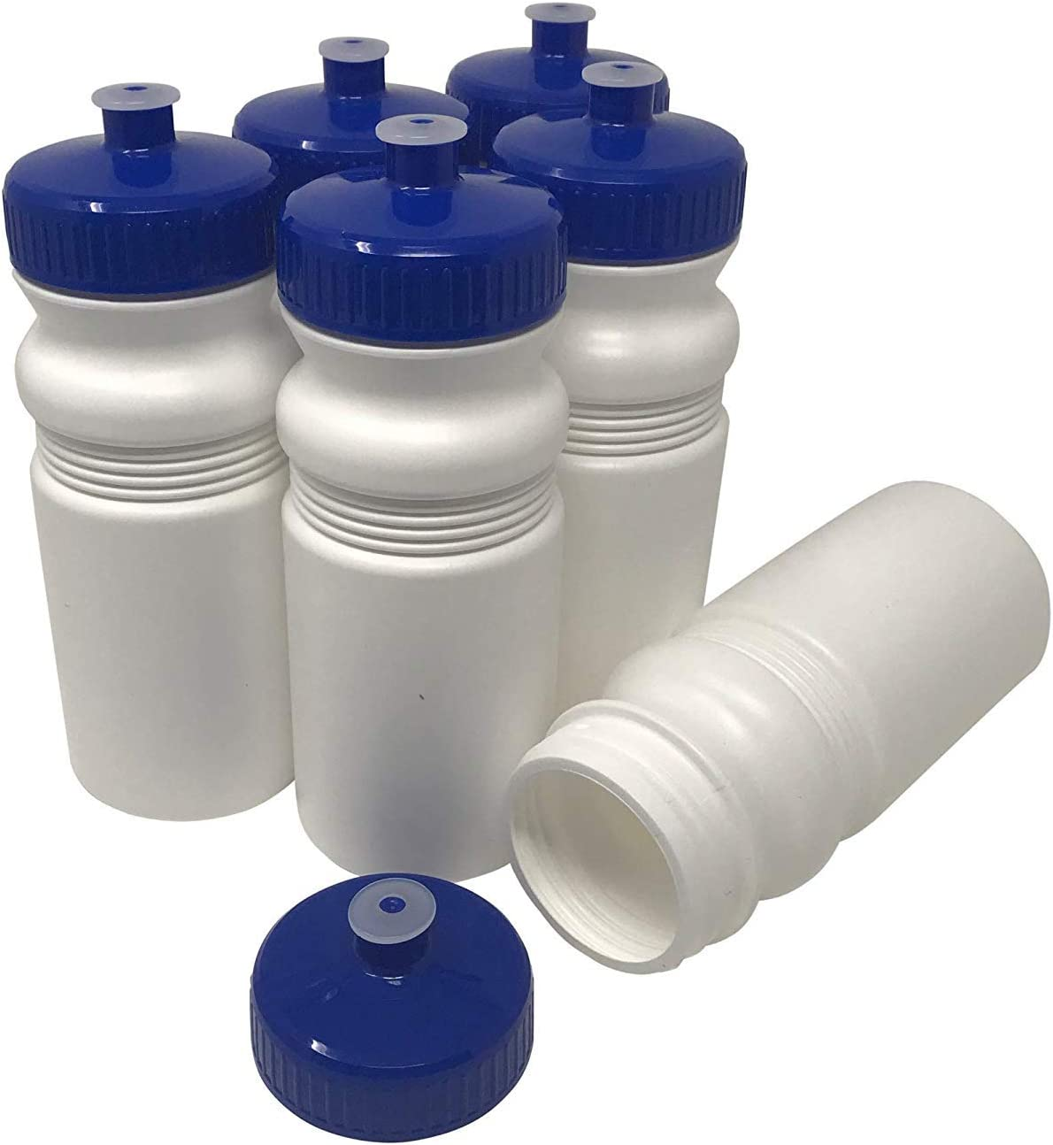 CSBD 20 oz Sports Water Bottles, 6 Pack, Reusable No BPA Plastic, Pull Top Leakproof Drink Spout, Blank DIY Customization for Business Branding, Fundraises, or Fitness