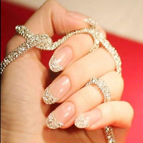 jovono de las mujeres Corto Falso uñas consejos de brillantes uñas postizas Francés Completo Warp (