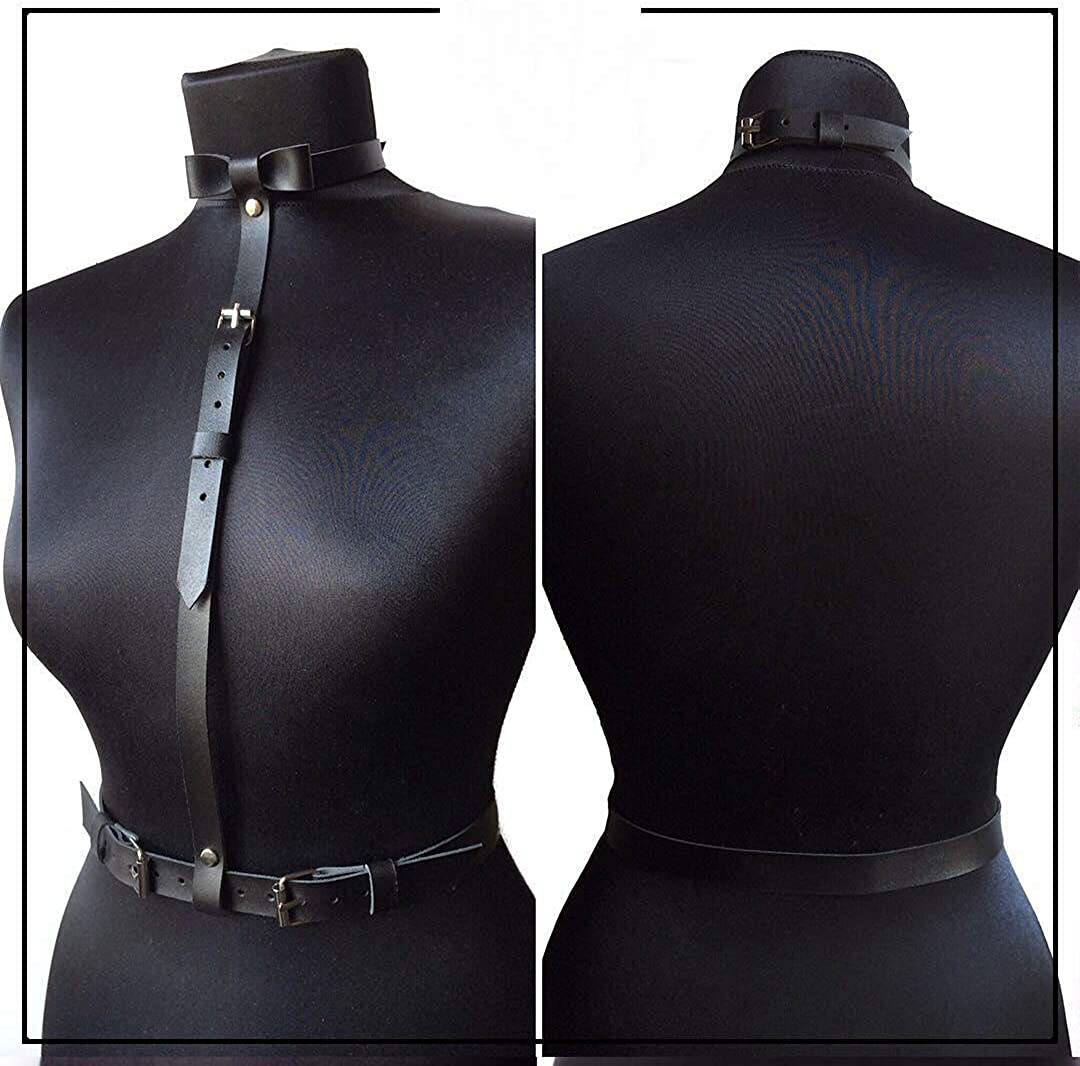 TOPFUR Womens Leather Waist Harness Adjustable Garter Halter Belt with Buckles and Bow