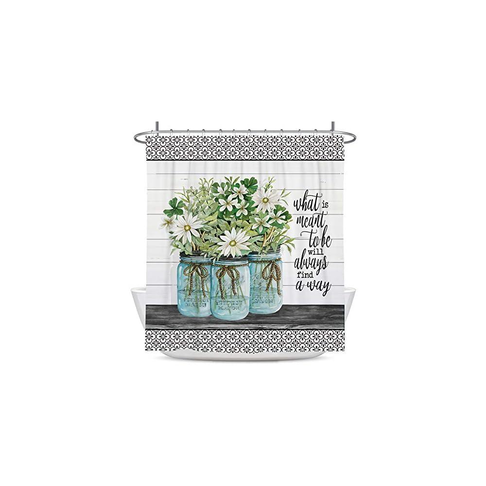 Coxila Farmhouse Bathroom Shower Curtain 60x72 inch Country Rustic Floral Green Vintage Bath Curtain Polyester Fabric…