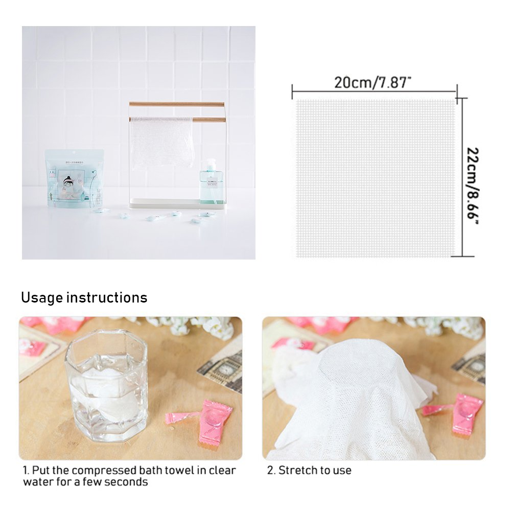 Compressed Towels for Travel Aolvo 50 Pcs Disposable Compressed Pure Cotton Washcloth Facial Tissue Tablet Cloth Portable for Vocation Travel Camping Hiking Expanded Size 8 X 8.7