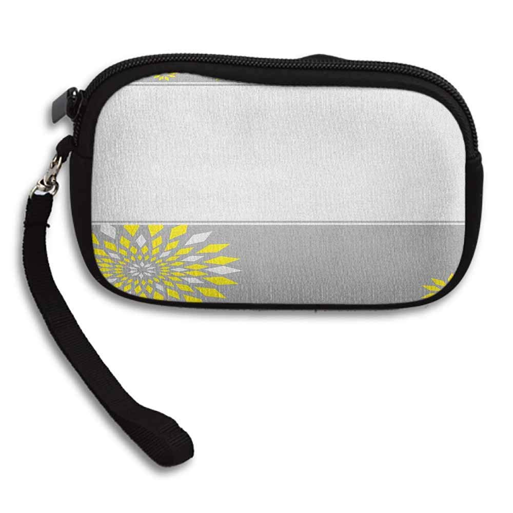 Grey and Yellow Clutch Purse Cell Phone Modern Futuristic Border with Geometric Flower Frame W 5.9x L 3.7 Pouch Wallet Gift wrapped