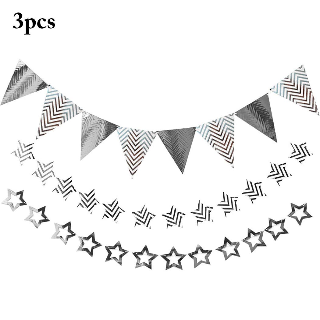 Amazon Com Funpa 3pcs Party Banner Glitter Star Triangle Flag Hanging Banner Birthday Banner Kitchen Dining