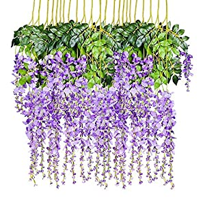 QTYB 12Pack Fake Wisteria Artificial Flowers Hanging Silk Flower for Wedding Home Party Decor 3.6Ft Purple 12