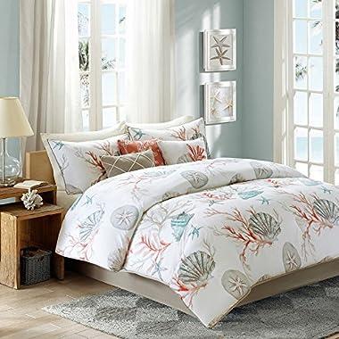 Coral, Seashells, Starfish, Beach Queen Comforter Set KO (8 Piece Bed In A Bag) + HOMEMADE WAX MELT