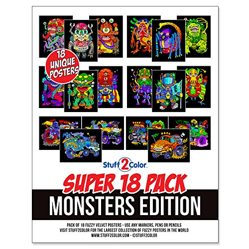 (Super Pack of 18 Fuzzy Velvet Coloring Posters (Monsters Edition) )