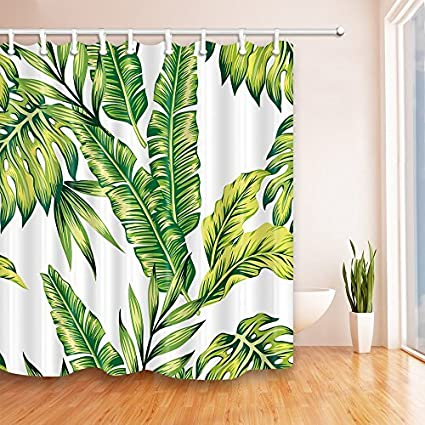 Joelory Green Leaves Shower Curtain 72X72 Inches Banana Palm Pattern Mildew Resistant Polyester