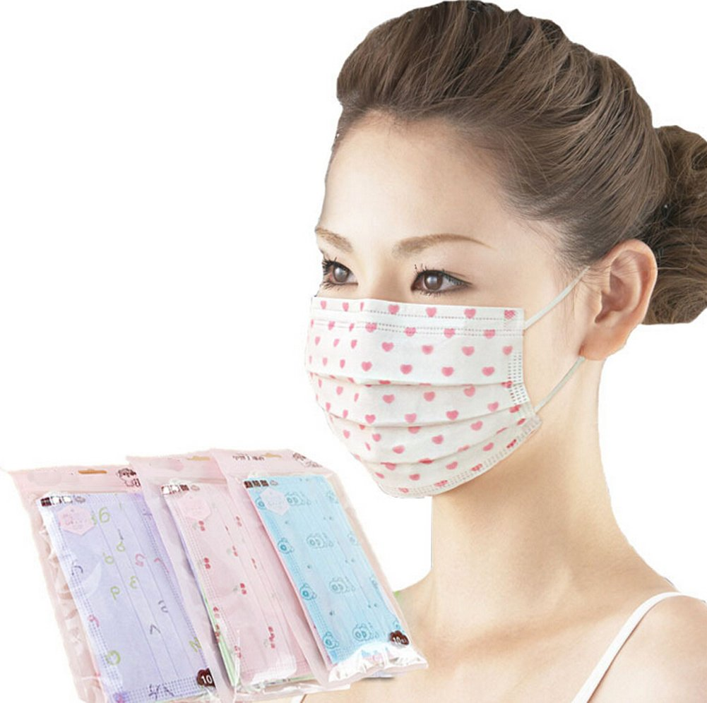Ewandastore 3 Layer Cartoon Colorful Printed Non-woven Fabric Disposable Surgical Dust Filter Ear Loop Mouth Cover Face Mask 30 Pack