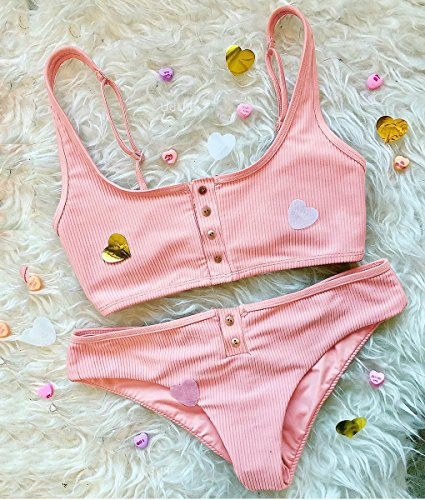 Estate Push Costumi Unita Costume Pulsante Up Sportivi Sets Tinta Due Da Spiaggia Donna Pink Bagno Beachwear Pezzi Bikini Sexy Minetom wCqpxZtT