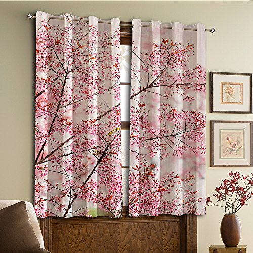 Custom design curtains/Vintage Lace Window Curtain/Grommet Top Blackout Curtains/Thermal Insulated Curtain For Bedroom And Kitchen-Set of 2 Panels(Collection Japanese Sakura Cherry Trees Blossom)