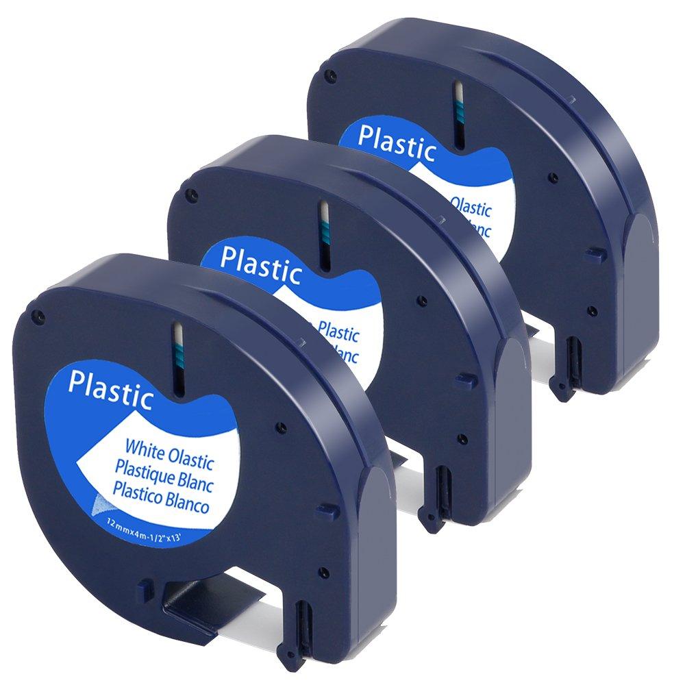 Airmall Lot de 3 Ruban Adhésif Pour Étiqueteuse Équivalent à Dymo LetraTag 91201 S0721610 Plastique Noir Sur Blanc 12mm x 4m Compatible avec Dymo LetraTag LT-100H LT-100T LT-110T QX 50 XR XM 2000 Plus
