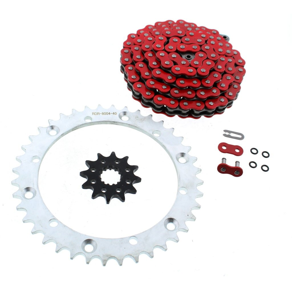 Red O-Ring Chain & Silver Sprocket 12/40 92L 2001-2005 Yamaha YFM660 660 Raptor Race-Driven