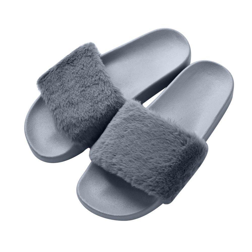 COFACE Damen Hausschuh Weiche Flache Sandalen Flauschige mit Süßer Plüsch Pantoffel Outdoor/Indoor in 5 Farben  39 EU|Grau