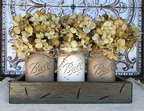 Mason Canning JARS in Wood RIVER ROCK Gray Blue Tray Centerpiece with 3 Ball Pint Jar -Kitchen Table Decor -Distressed Rustic -Hydrangea Flowers (Optional) -COFFEE X2, CREAM Painted Jars (Pictured)