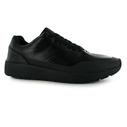Tela diseño perforado Run zapatillas para mujer negro zapatillas deportivas zapatos calzado, negro