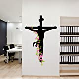 Decals Design 'Jesus Christ Floral Religion Christian Cross Divine Trinity Prayer' Wall Sticker (PVC Vinyl, 50 cm x 70 cm), Multicolour